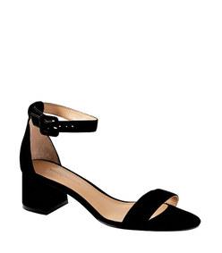 bare low block-heel sandal in black