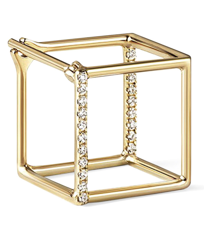 yellow gold 3d medium diamond square earring