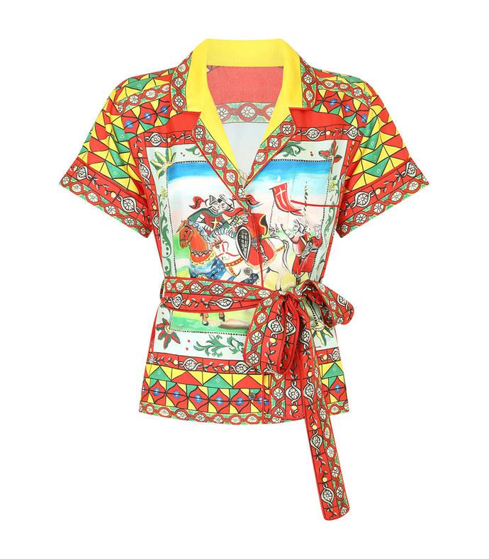 carretto-print twill shirt with belt