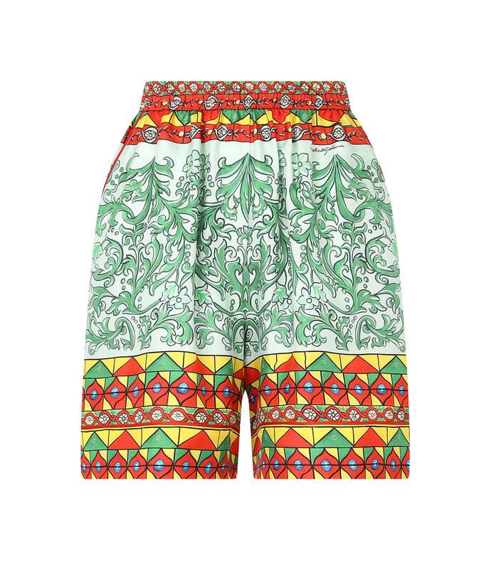 carretto-print twill bermuda shorts
