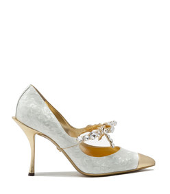 mother-of-pearl print patent leather pumps