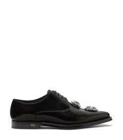 polished calfskin derby with bejeweled embroidery