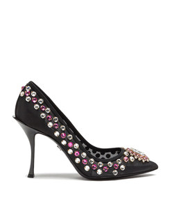 mesh pumps with bejeweled embroidery