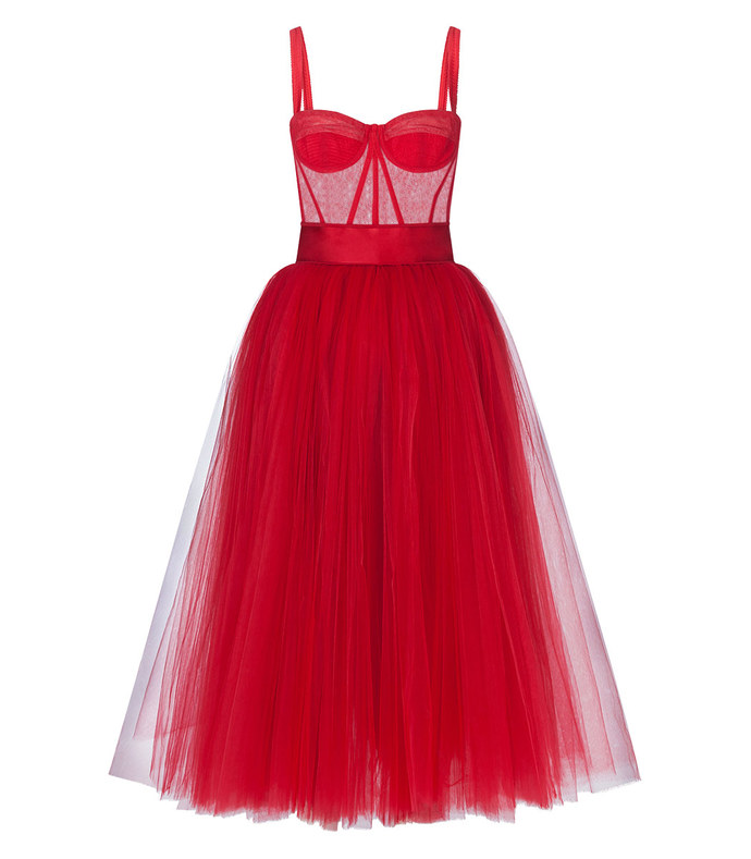 long bambola tulle dress
