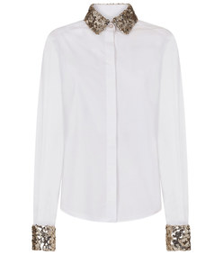 poplin shirt with sequin detail