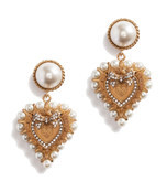 drop earrings with decorative sacred heart and pearl details