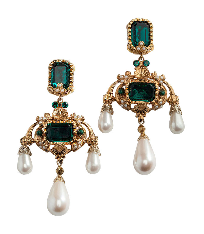 drop earrings with decorative rhinestone and pearl details