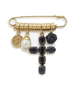 devotion brooch in yellow gold with black sapphires, black jade and pearl