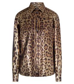 georgette leopard print lamé shirt