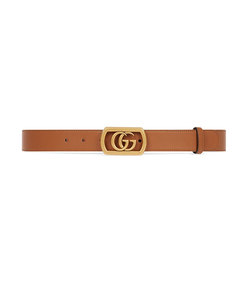 belt with framed double g buckle