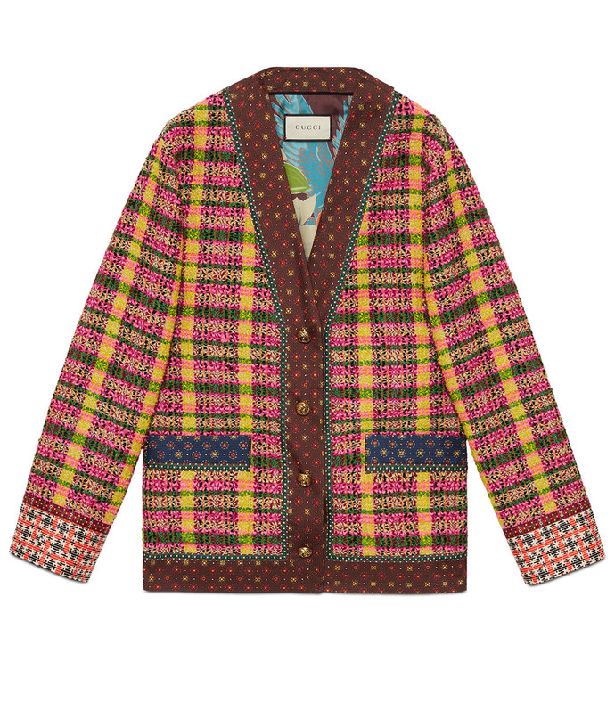 check tweed jacket with silk trims