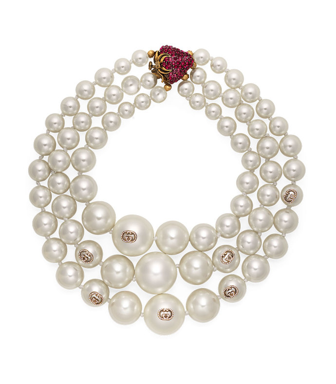 layered pearl necklace with strawberry