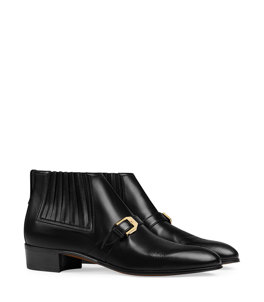 c217fbb38 Gucci Men's Leather Ankle Boot with G Brogue - ShopBAZAAR