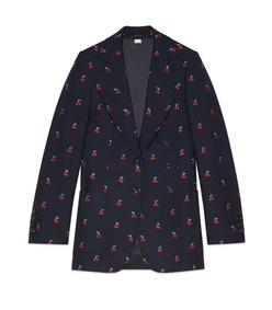 cherry fil coupé wool jacket