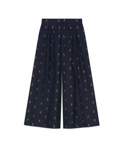 cherry fil coupé wool culotte pant