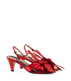 leather mid-heel sandal with bow