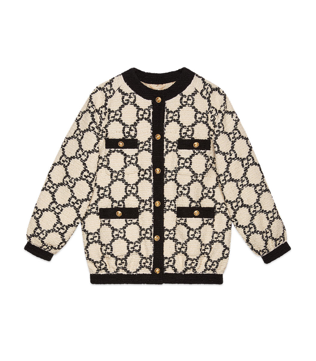efa288f27 Gucci GG Tweed Oversize Bomber - ShopBAZAAR