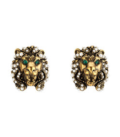 lion head earrings with pearls