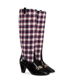 gucci zumi check tweed knee boot