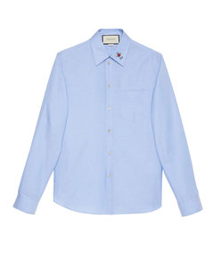 men's oxford shirt with embroidered collar