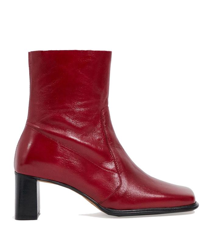 roisin premium leather square toe boots in red
