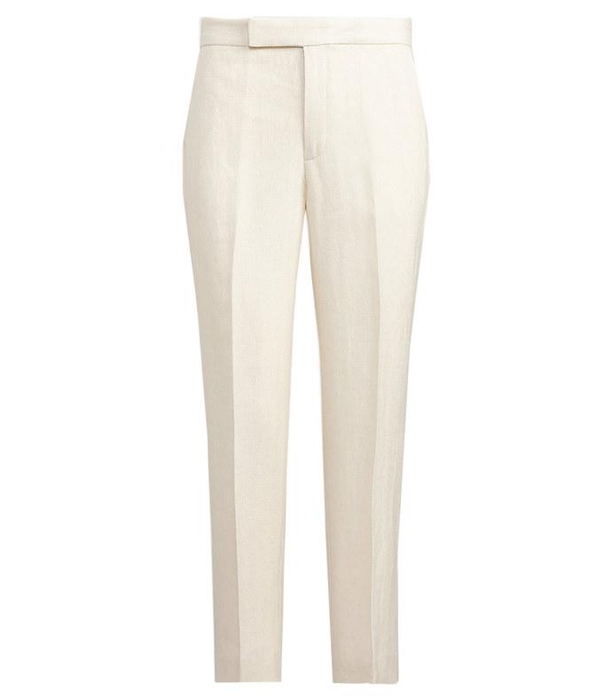 linen-blend straight pant