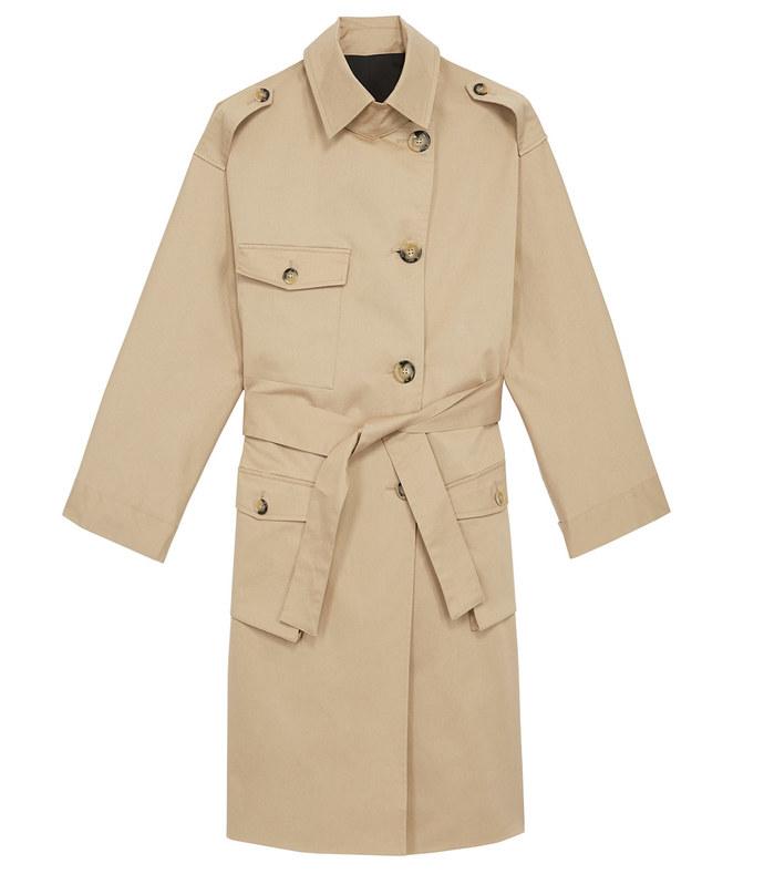 bi-material trench coat
