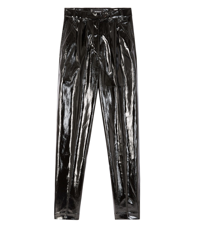 patent faux leather trousers