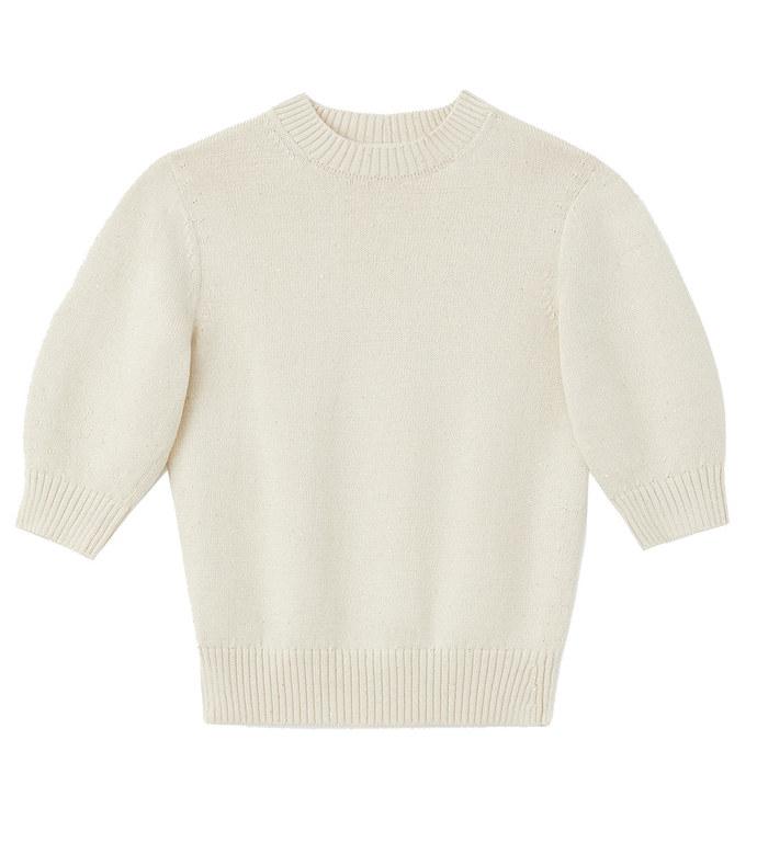 cotton silk tape blouson sleeve sweater