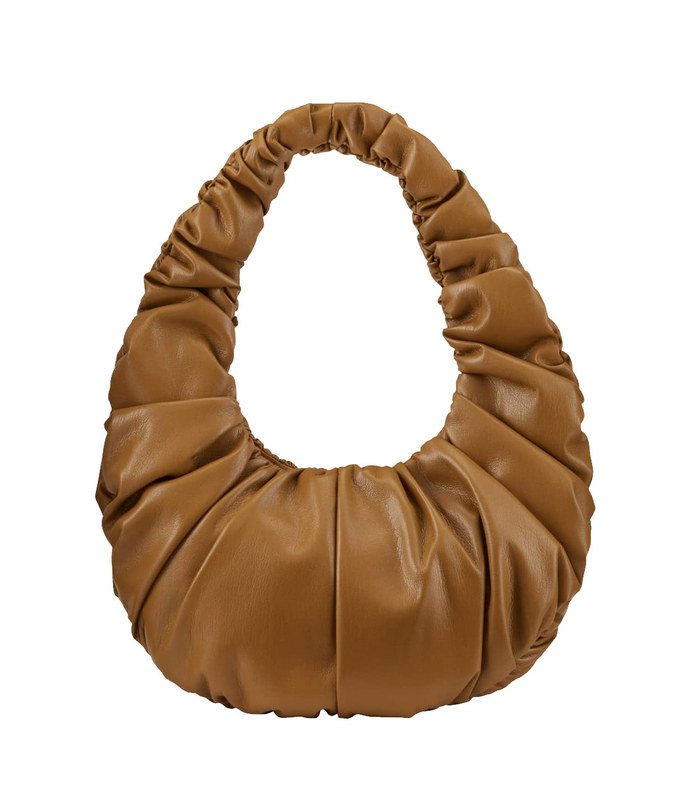 anja ruched faux-leather shoulder