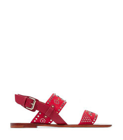 microstud leather and suede slingback sandals
