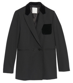 tailored jacket with velvet detail