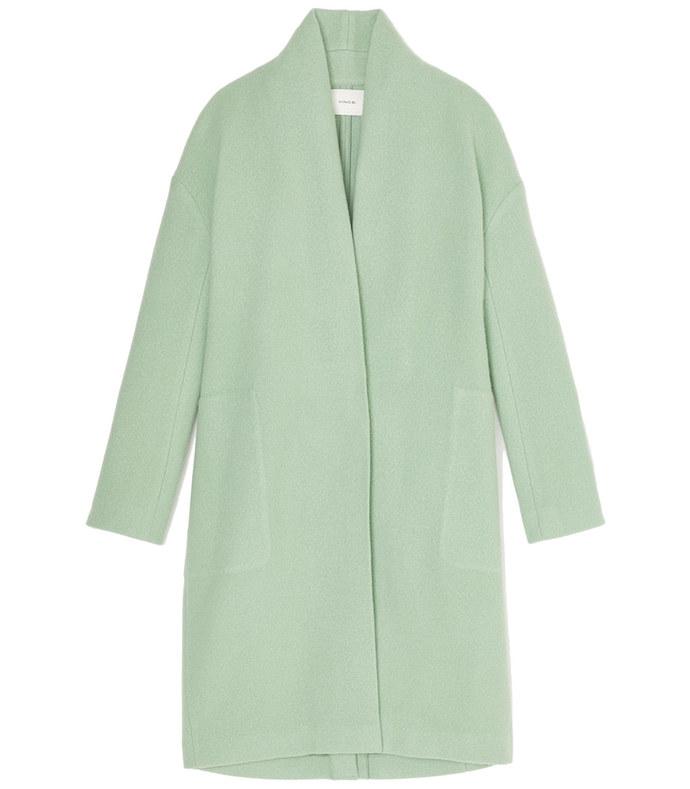 wool collarless coat