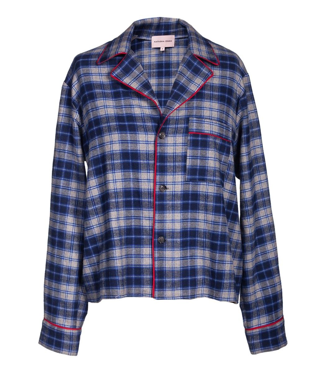 NATASHA ZINKO Pajamas Blue And Grey Pajama Top