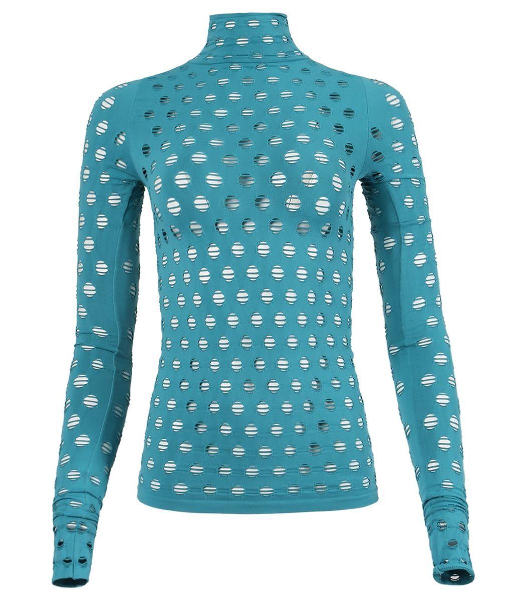 Maisie Wilen Perforated Turtleneck Top, Aqua