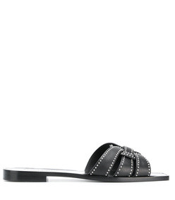 black tribute studded flat sandal