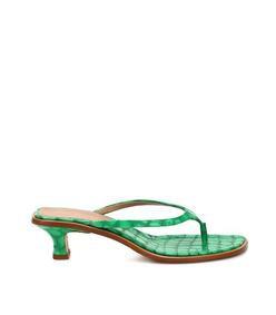 alix thong strap patent croc-effect heel