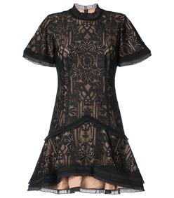 black tower mesh ruffle dress