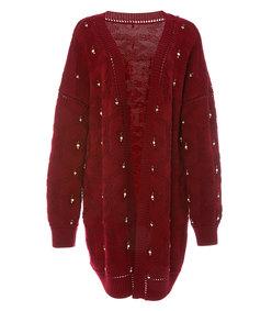 cabernet embellished cardigan