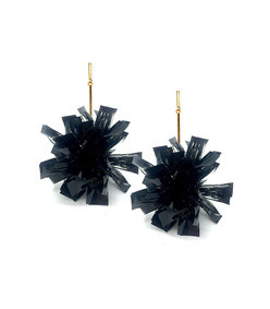 4 black lurex pom pom earrings