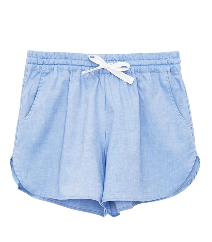 curved hem short blue classic oxford