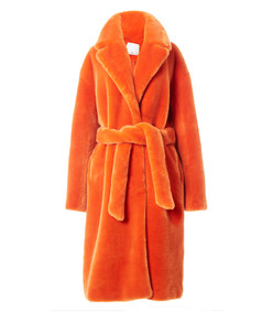 orange luxe faux fur oversized coat