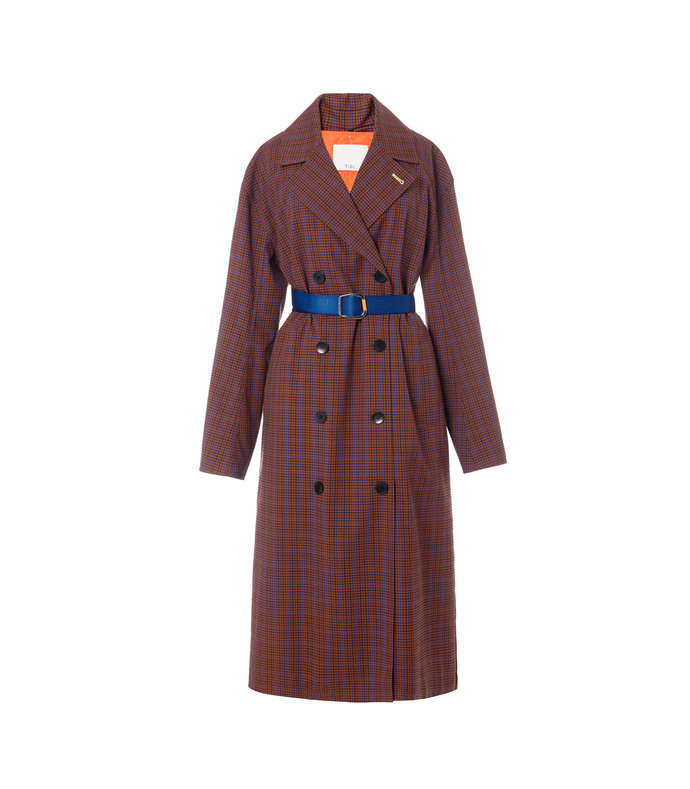 menswear check oversized trench with removable lining