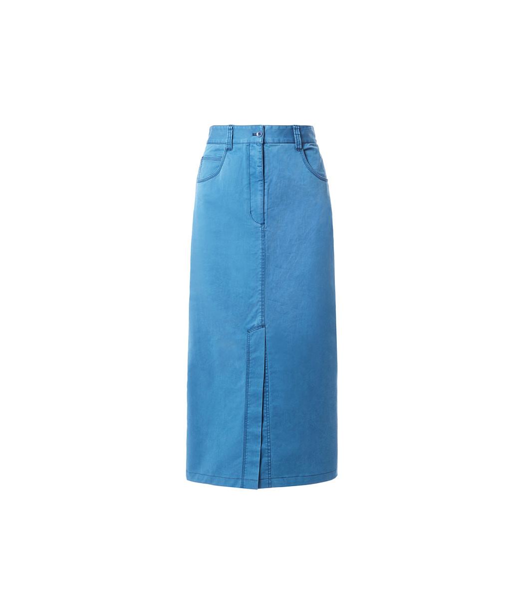 Tibi Washed Indigo Twill Pencil Skirt