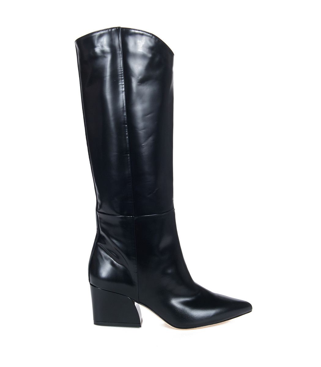 Logan Glossed-Leather Knee Boots in Black
