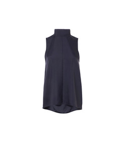 navy mendini twill sleeveless tie neck top