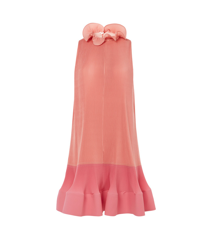 shell/pink multi pleated sleeveless dress