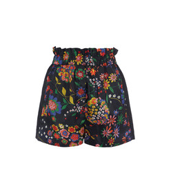 navy multi tech floral pull on paperbag shorts