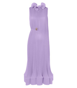 pleated sleeveless dress with removable belt