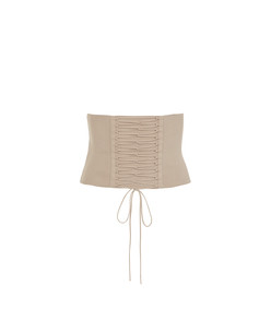 nude knit lace up corset